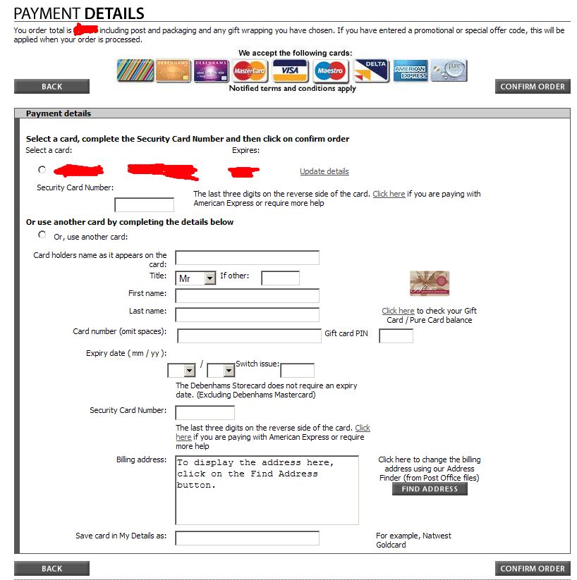 Debenhams Payment Form - Design Gone Wrong